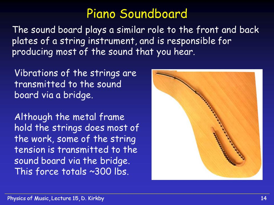 Physics of Music, Lecture 15, D. Kirkby14 Piano Soundboard The sound board plays a similar role to the front and back plates of a string instrument, a