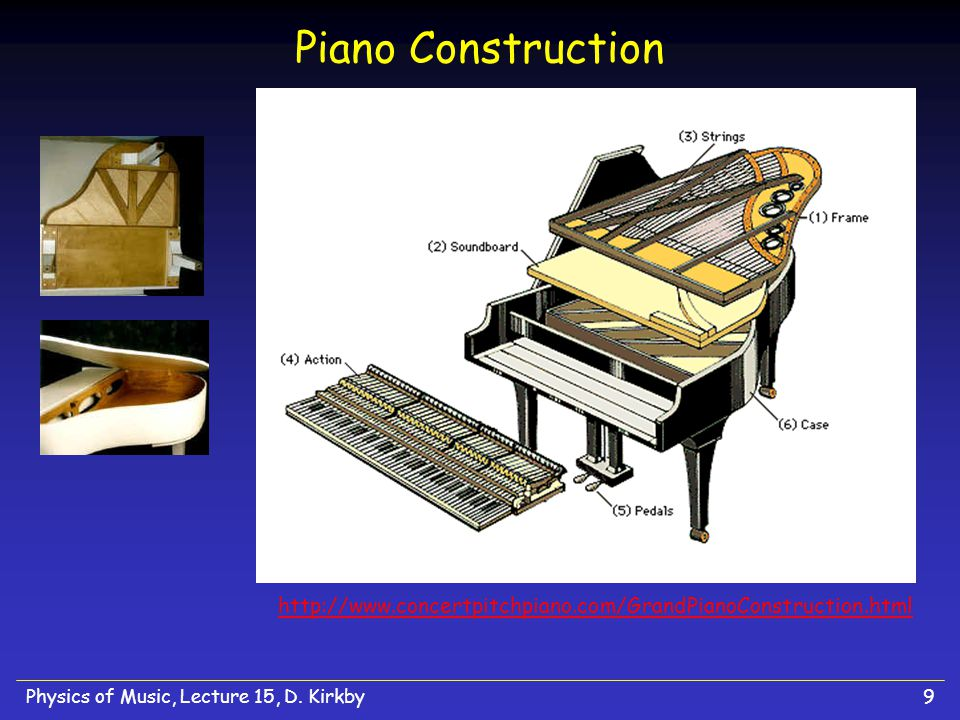 Physics of Music, Lecture 15, D. Kirkby9 Piano Construction http://www.concertpitchpiano.com/GrandPianoConstruction.html