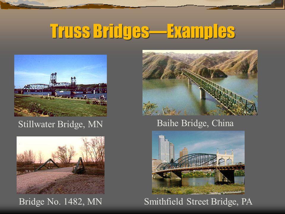 Truss BridgesExamples Stillwater Bridge, MN Smithfield Street Bridge, PABridge No. 1482, MN Baihe Bridge, China