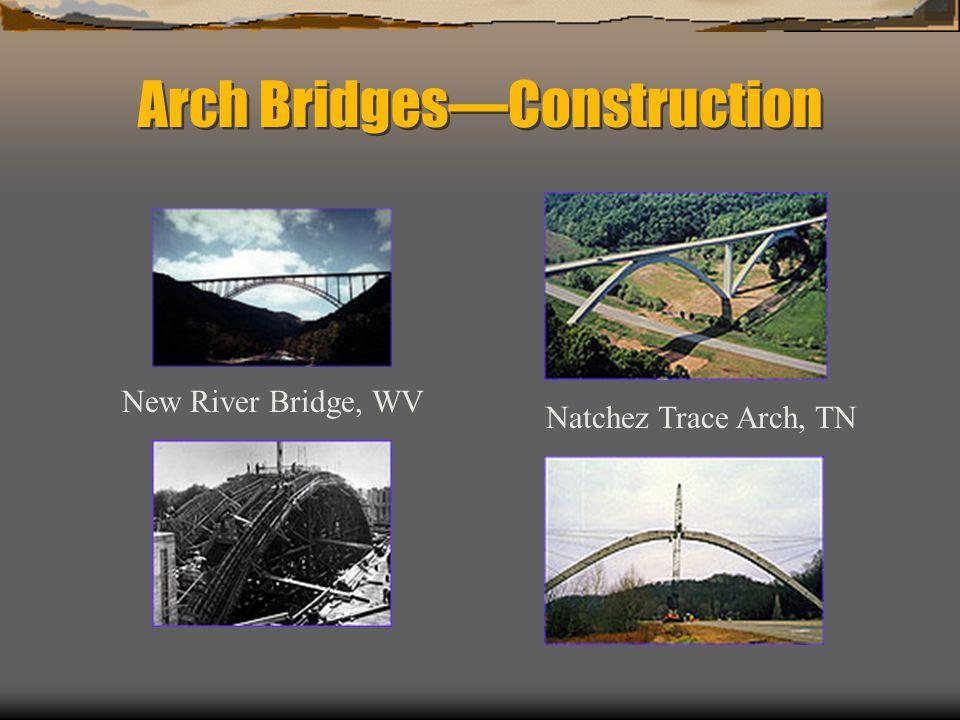 Arch BridgesConstruction New River Bridge, WV Natchez Trace Arch, TN