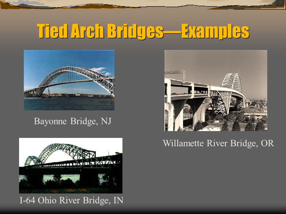 Tied Arch BridgesExamples Bayonne Bridge, NJ I-64 Ohio River Bridge, IN Willamette River Bridge, OR
