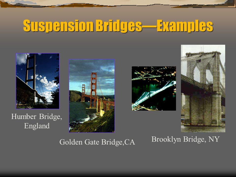 Suspension BridgesExamples Humber Bridge, England Golden Gate Bridge,CA Brooklyn Bridge, NY