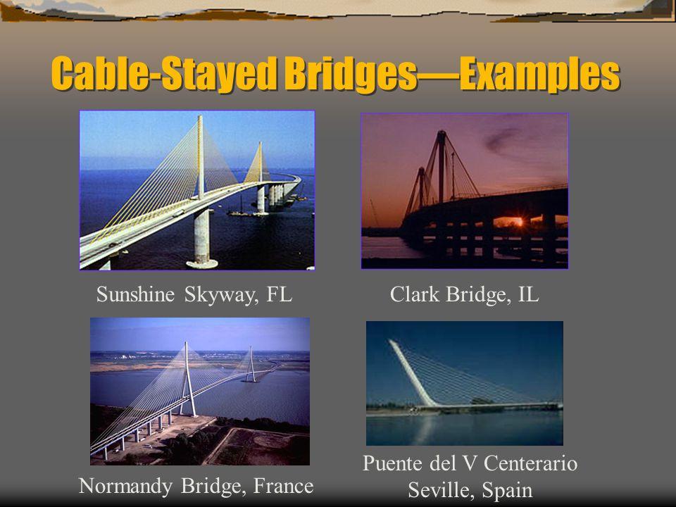 Cable-Stayed BridgesExamples Clark Bridge, ILSunshine Skyway, FL Normandy Bridge, France Puente del V Centerario Seville, Spain