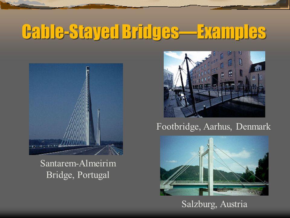 Cable-Stayed BridgesExamples Footbridge, Aarhus, Denmark Salzburg, Austria Santarem-Almeirim Bridge, Portugal