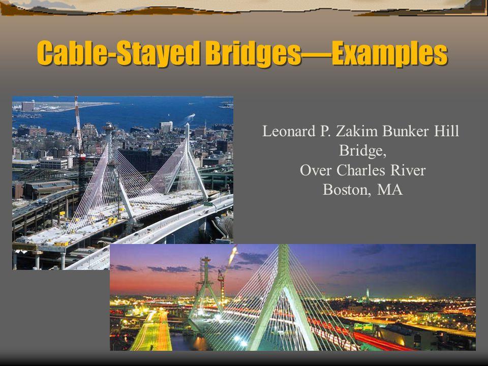 Cable-Stayed BridgesExamples Leonard P. Zakim Bunker Hill Bridge, Over Charles River Boston, MA
