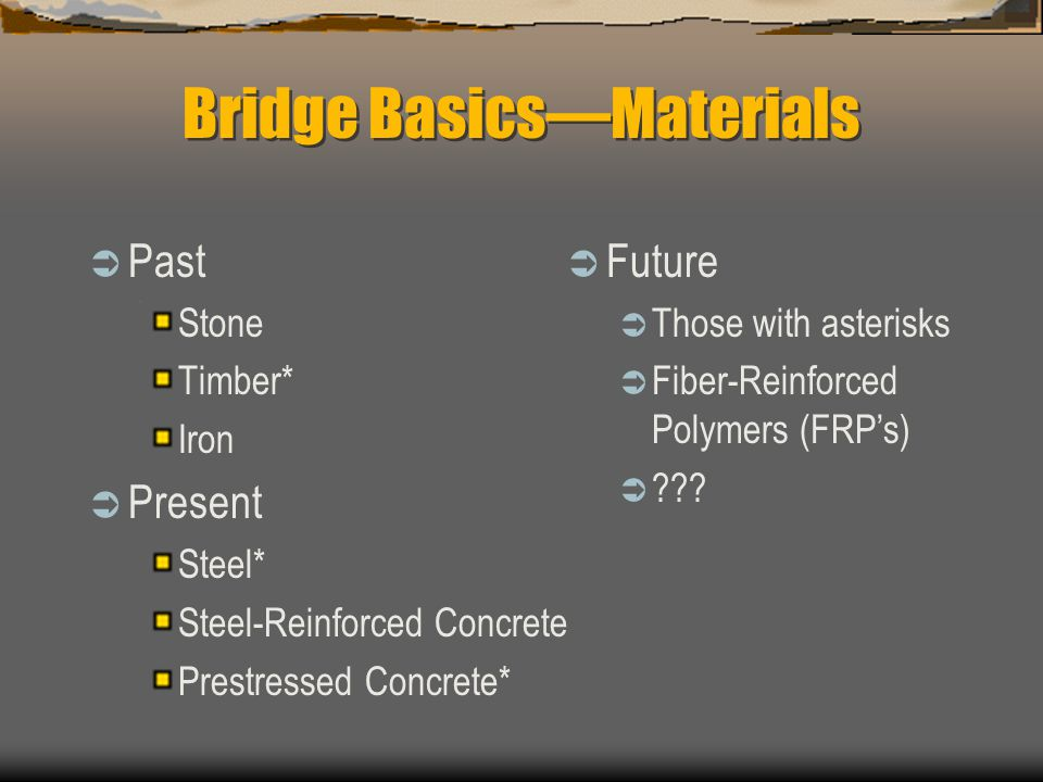 Bridge BasicsMaterials Past Stone Timber* Iron Present Steel* Steel-Reinforced Concrete Prestressed Concrete* Future Those with asterisks Fiber-Reinforced Polymers (FRPs) ???
