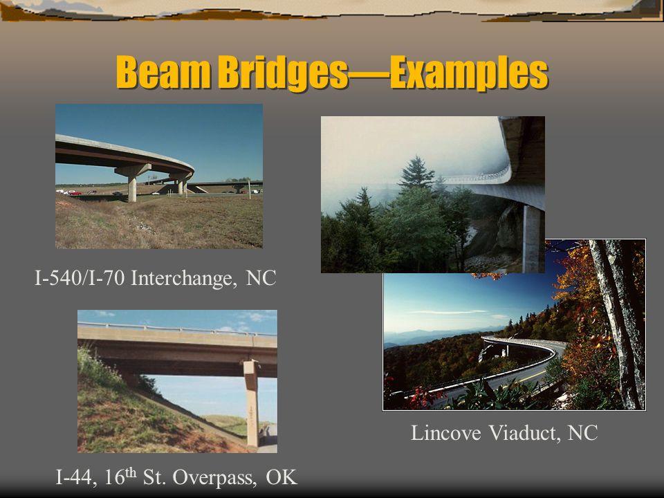 Beam BridgesExamples I-44, 16 th St. Overpass, OK I-540/I-70 Interchange, NC Lincove Viaduct, NC