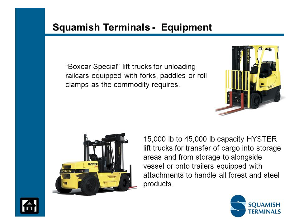 Boxcar Special lift trucks for unloading railcars equipped with forks, paddles or roll clamps as the commodity requires.