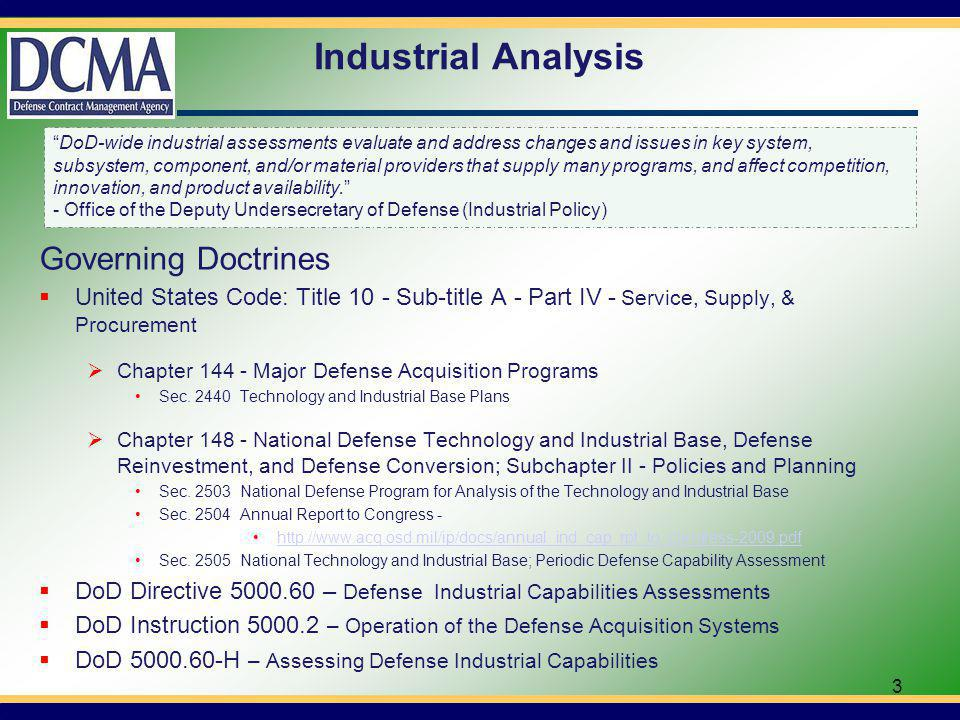 Industrial Analysis – cont.