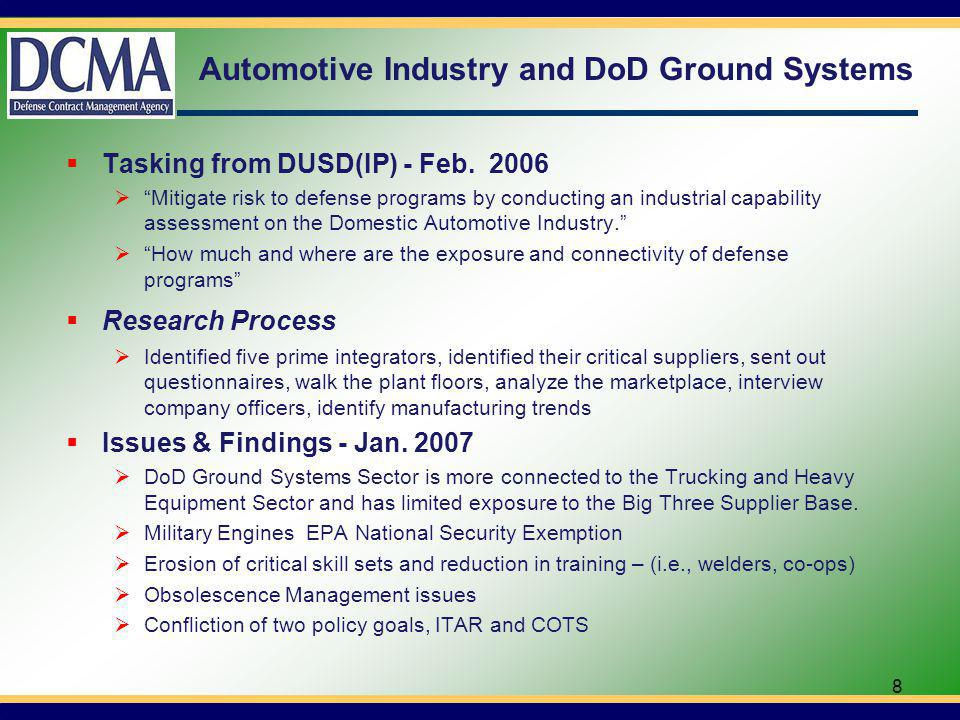 Automotive Industry and DoD Ground Systems Tasking from DUSD(IP) - Feb.