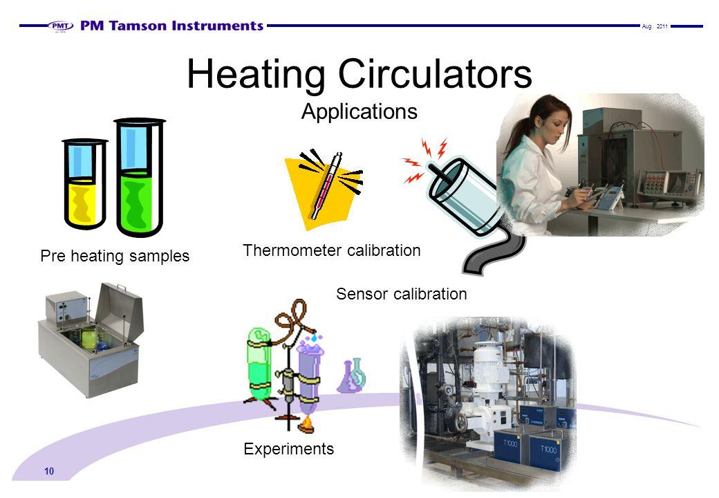 Heating Circulators Applications 10 Pre heating samples Thermometer calibration Sensor calibration Experiments Aug.