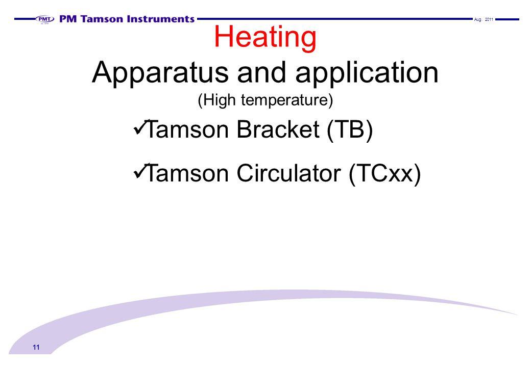Heating Apparatus and application (High temperature) 11 Tamson Bracket (TB) Tamson Circulator (TCxx) Aug.