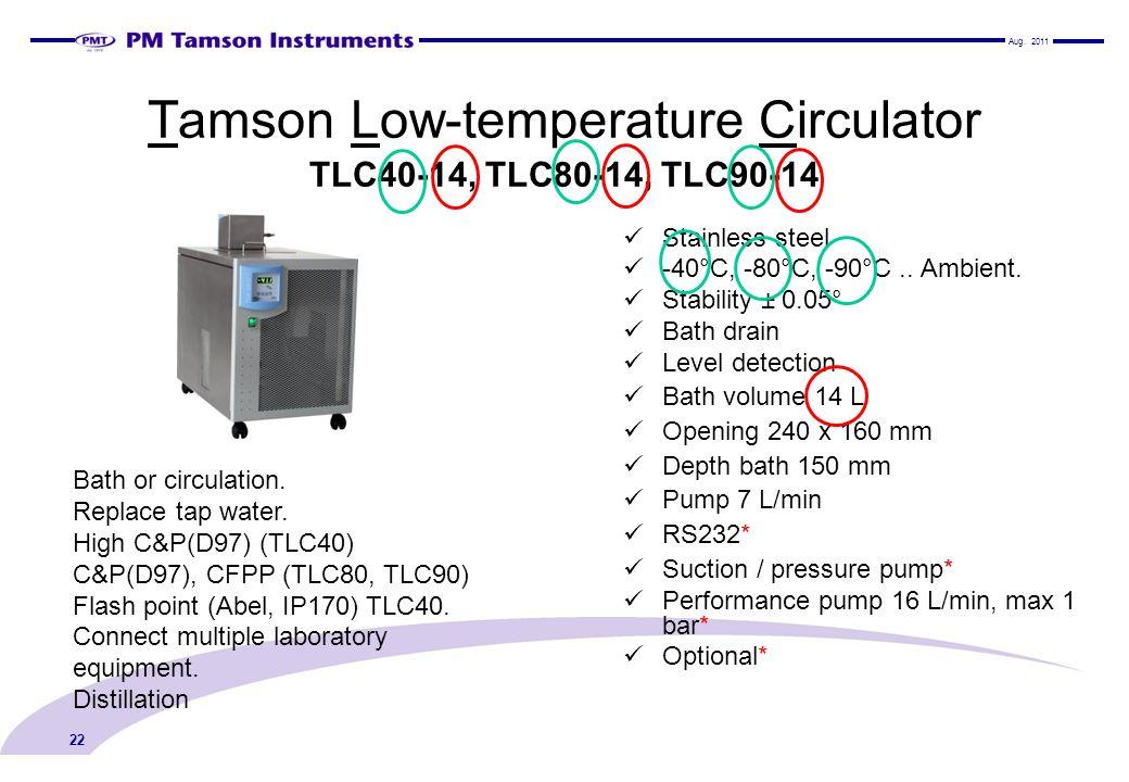 Tamson Low-temperature Circulator TLC40-14, TLC80-14, TLC90-14 Stainless steel -40°C, -80°C, -90°C..