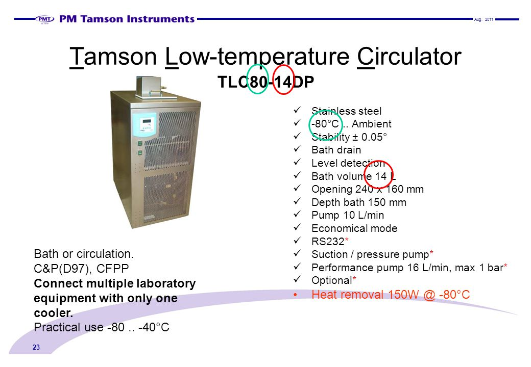 Tamson Low-temperature Circulator TLC80-14DP Stainless steel -80°C.. Ambient Stability ± 0.05° Bath drain Level detection Bath volume 14 L Opening 240