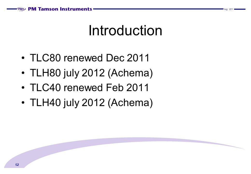 Introduction TLC80 renewed Dec 2011 TLH80 july 2012 (Achema) TLC40 renewed Feb 2011 TLH40 july 2012 (Achema) Aug.