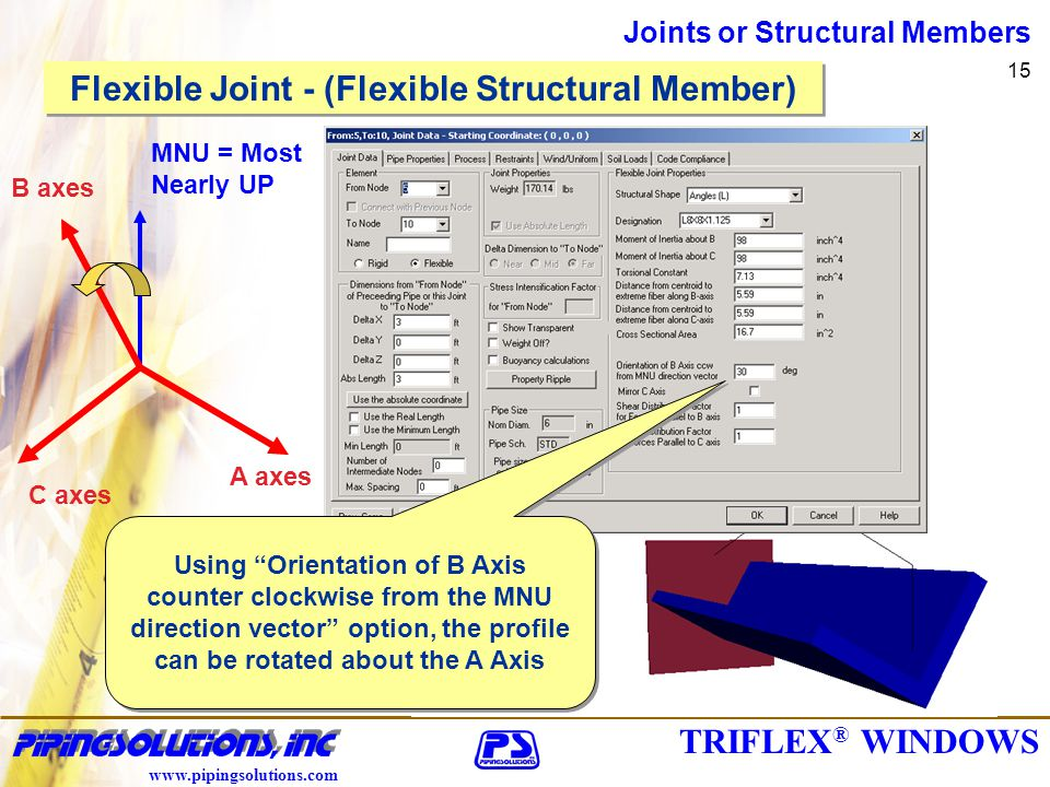 TRIFLEX ® WINDOWS www.pipingsolutions.com Joints or Structural Members 15 Using Orientation of B Axis counter clockwise from the MNU direction vector option, the profile can be rotated about the A Axis B axes C axes A axes MNU = Most Nearly UP Flexible Joint - (Flexible Structural Member)