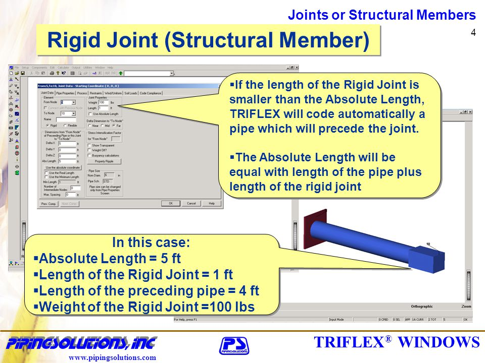 TRIFLEX ® WINDOWS www.pipingsolutions.com Joints or Structural Members 4 Rigid Joint (Structural Member) If the length of the Rigid Joint is smaller than the Absolute Length, TRIFLEX will code automatically a pipe which will precede the joint.