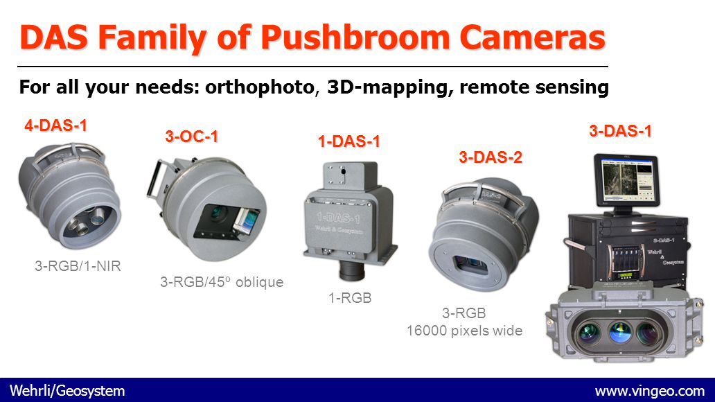 Wehrli/Geosystem www.vingeo.com DAS Family of Pushbroom Cameras For all your needs: orthophoto, 3D-mapping, remote sensing 4-DAS-1 3-RGB/1-NIR 3-OC-1