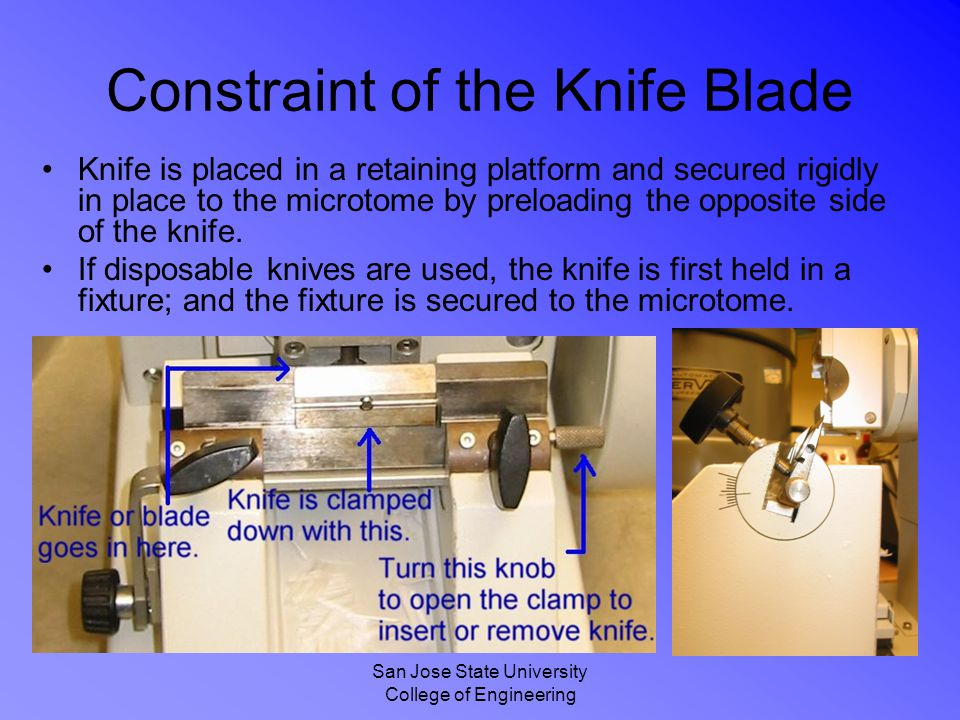 San Jose State University College of Engineering Constraint of the Knife Blade Knife is placed in a retaining platform and secured rigidly in place to the microtome by preloading the opposite side of the knife.