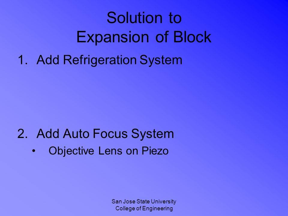 San Jose State University College of Engineering Solution to Expansion of Block 1.Add Refrigeration System 2.Add Auto Focus System Objective Lens on Piezo