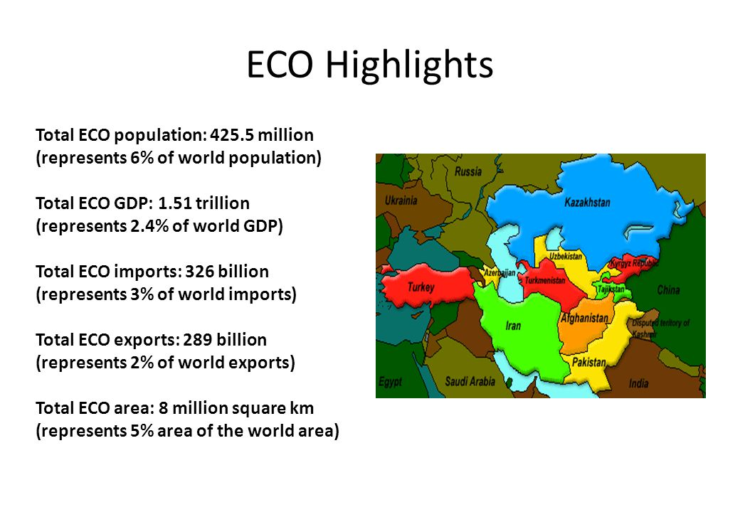 ECO Highlights Total ECO population: 425.5 million (represents 6% of world population) Total ECO GDP: 1.51 trillion (represents 2.4% of world GDP) Total ECO imports: 326 billion (represents 3% of world imports) Total ECO exports: 289 billion (represents 2% of world exports) Total ECO area: 8 million square km (represents 5% area of the world area)
