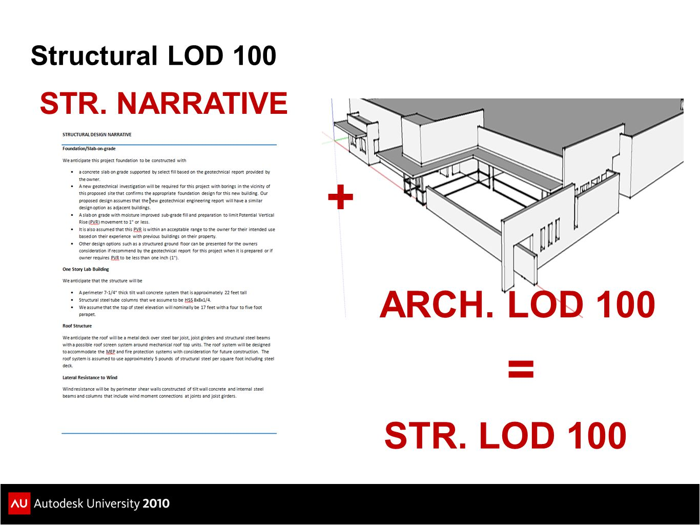 Structural LOD 100 STR. NARRATIVE ARCH. LOD 100 + = STR. LOD 100