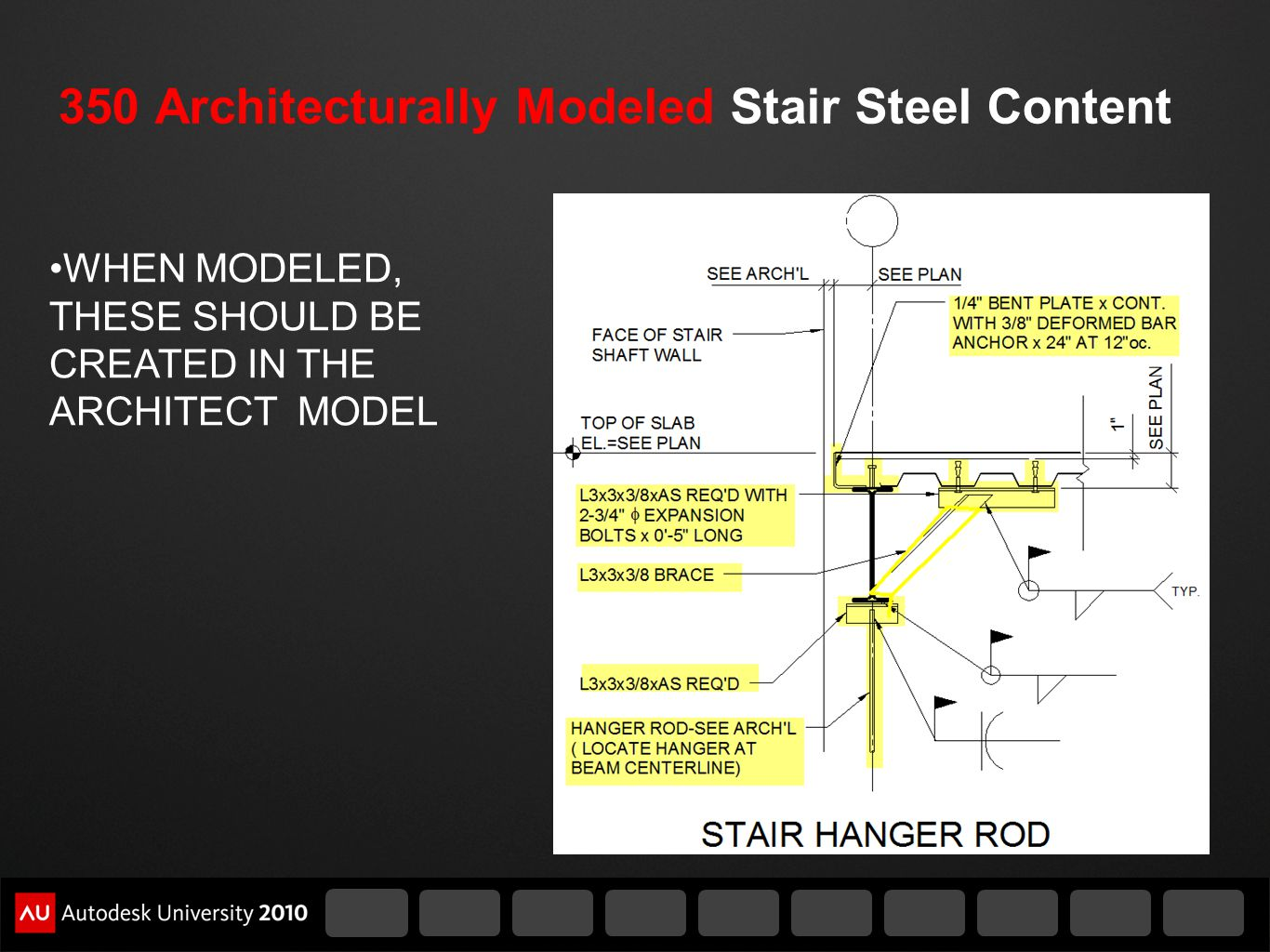 350 Architecturally Modeled Stair Steel Content WHEN MODELED, THESE SHOULD BE CREATED IN THE ARCHITECT MODEL