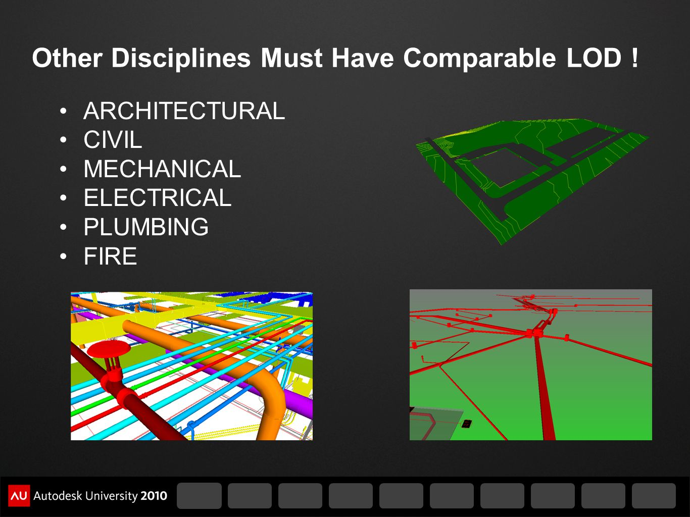 Other Disciplines Must Have Comparable LOD ! ARCHITECTURAL CIVIL MECHANICAL ELECTRICAL PLUMBING FIRE