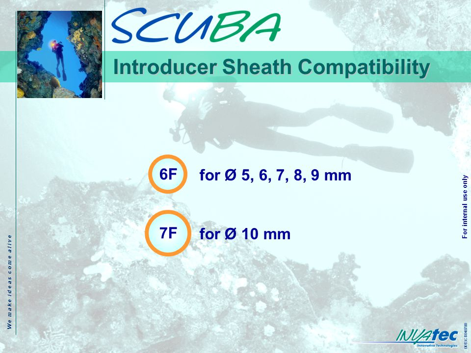 W e m a k e i d e a s c o m e a l i v e 001SCB040700 For internal use only Introducer Sheath Compatibility 6F 7F for Ø 5, 6, 7, 8, 9 mm for Ø 10 mm