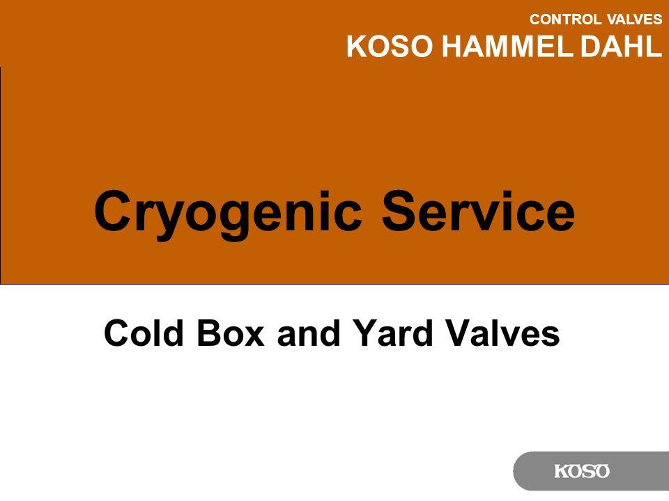 CONTROL VALVES KOSO HAMMEL DAHL Cryogenic Service Cold Box and Yard Valves