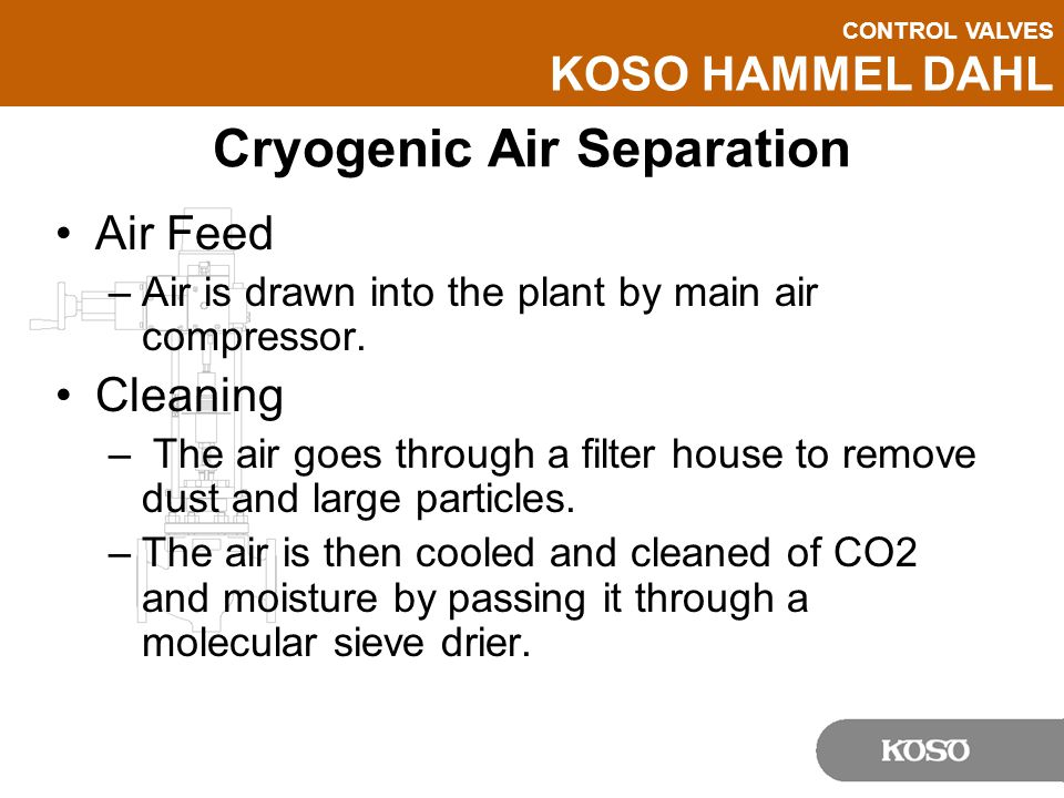 CONTROL VALVES KOSO HAMMEL DAHL Cryogenic Air Separation Air Feed –Air is drawn into the plant by main air compressor. Cleaning – The air goes through