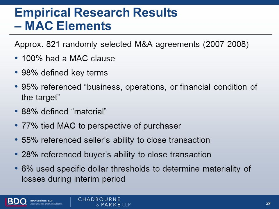 32 Empirical Research Results – MAC Elements Approx. 821 randomly selected M&A agreements (2007-2008) 100% had a MAC clause 98% defined key terms 95%
