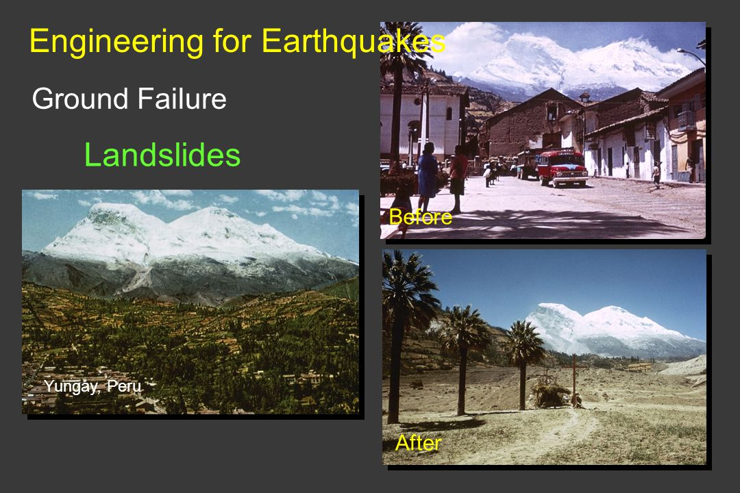 Ground Failure Landslides Yungay, Peru Before After Engineering for Earthquakes