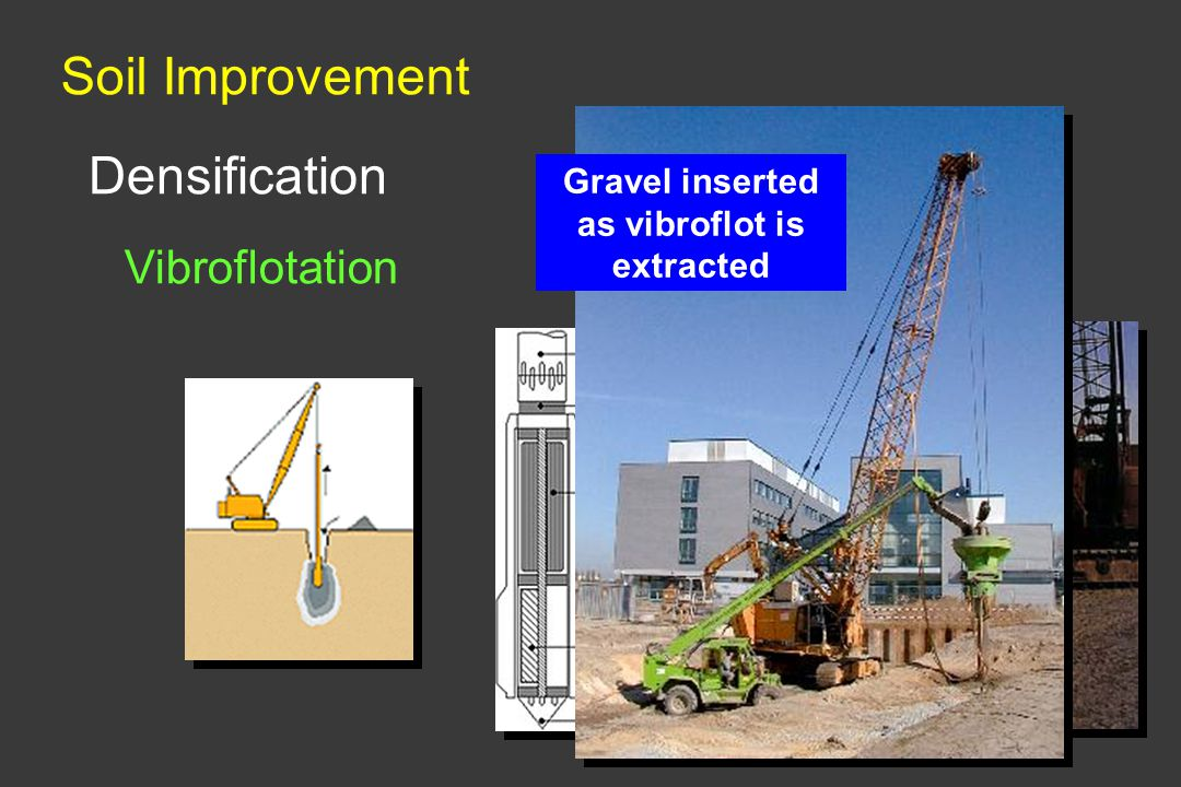 Soil Improvement Densification Vibroflotation Gravel inserted as vibroflot is extracted