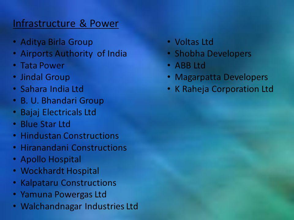 Infrastructure & Power Aditya Birla Group Airports Authority of India Tata Power Jindal Group Sahara India Ltd B. U. Bhandari Group Bajaj Electricals