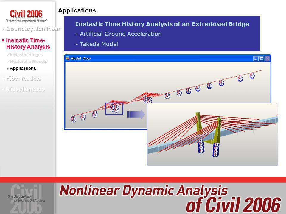 Applications Inelastic Time History Analysis of an Extradosed Bridge - Artificial Ground Acceleration - Takeda Model Boundary Nonlinear Inelastic Hing