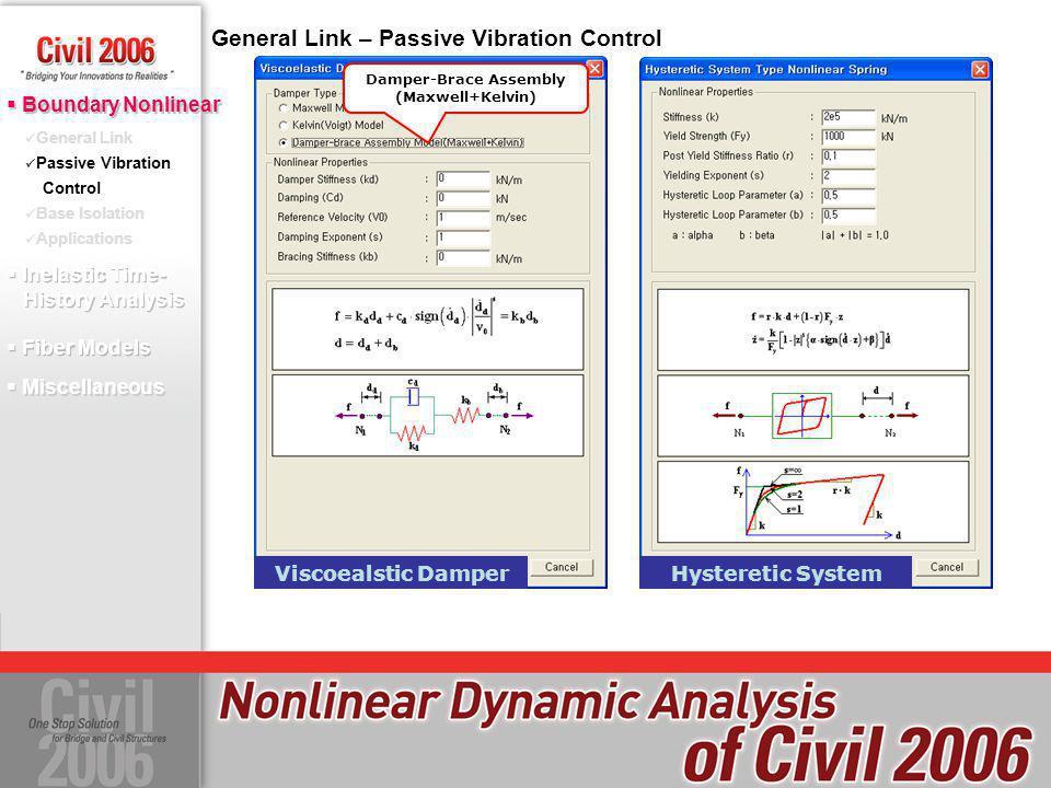 General Link – Passive Vibration Control Maxwell Model Kelvin(Voigt) Model Damper-Brace Assembly (Maxwell+Kelvin) Viscoealstic DamperGap Type LinkHook