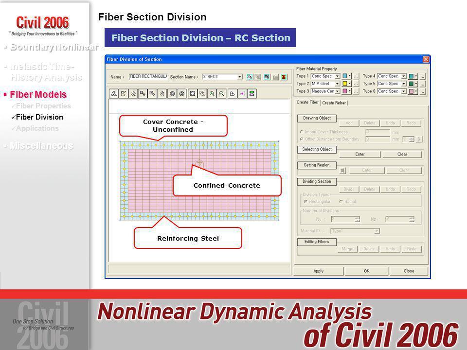 Boundary Nonlinear Fiber Properties Fiber Division Applications Fiber Division Inelastic Time- History Analysis Fiber Models Fiber Section Division Fi