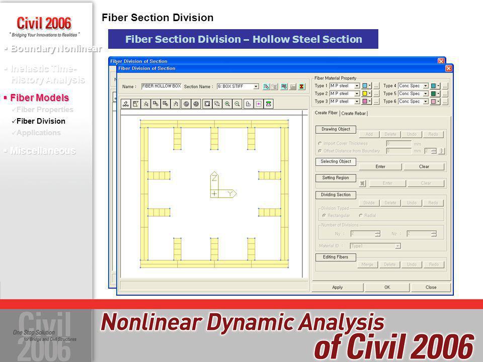 Boundary Nonlinear Fiber Properties Fiber Division Applications Inelastic Time- History Analysis Fiber Models Fiber Section Division Fiber Section Div