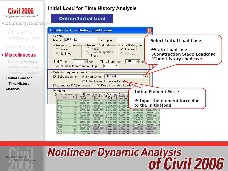 Boundary Nonlinear Inelastic Time- History Analysis Fiber Models Initial Load for Time History Analysis Define Initial Load Miscellaneous Select Initi