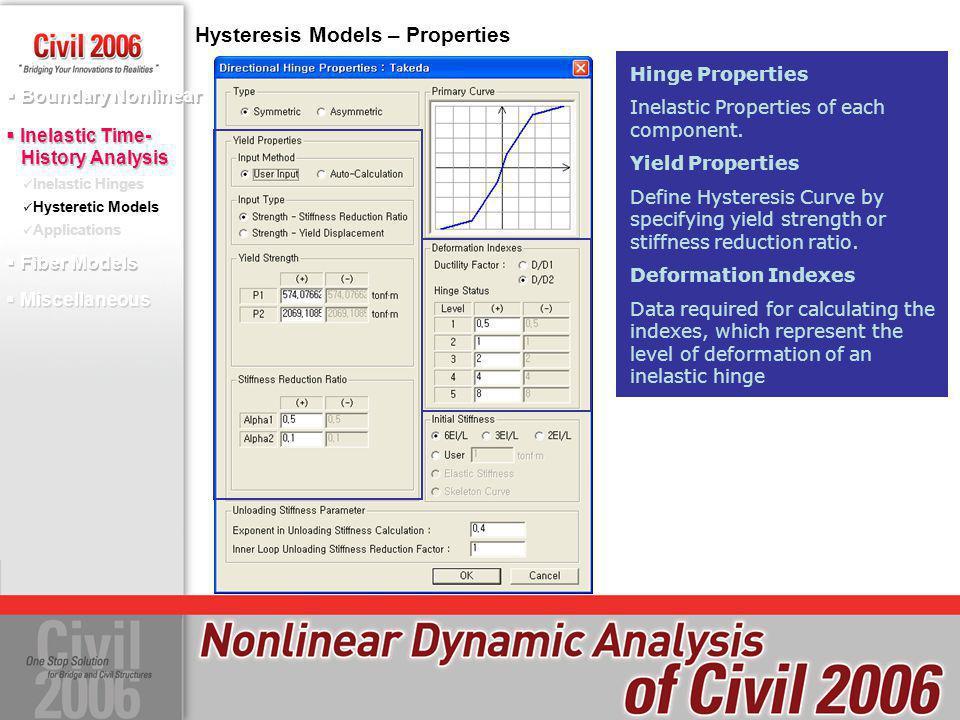 Hysteresis Models – Properties Hinge Properties Inelastic Properties of each component. Yield Properties Define Hysteresis Curve by specifying yield s