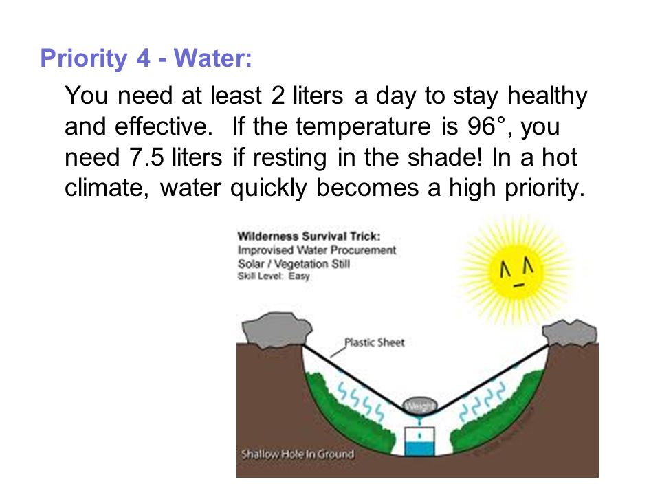 Priority 4 - Water: You need at least 2 liters a day to stay healthy and effective.