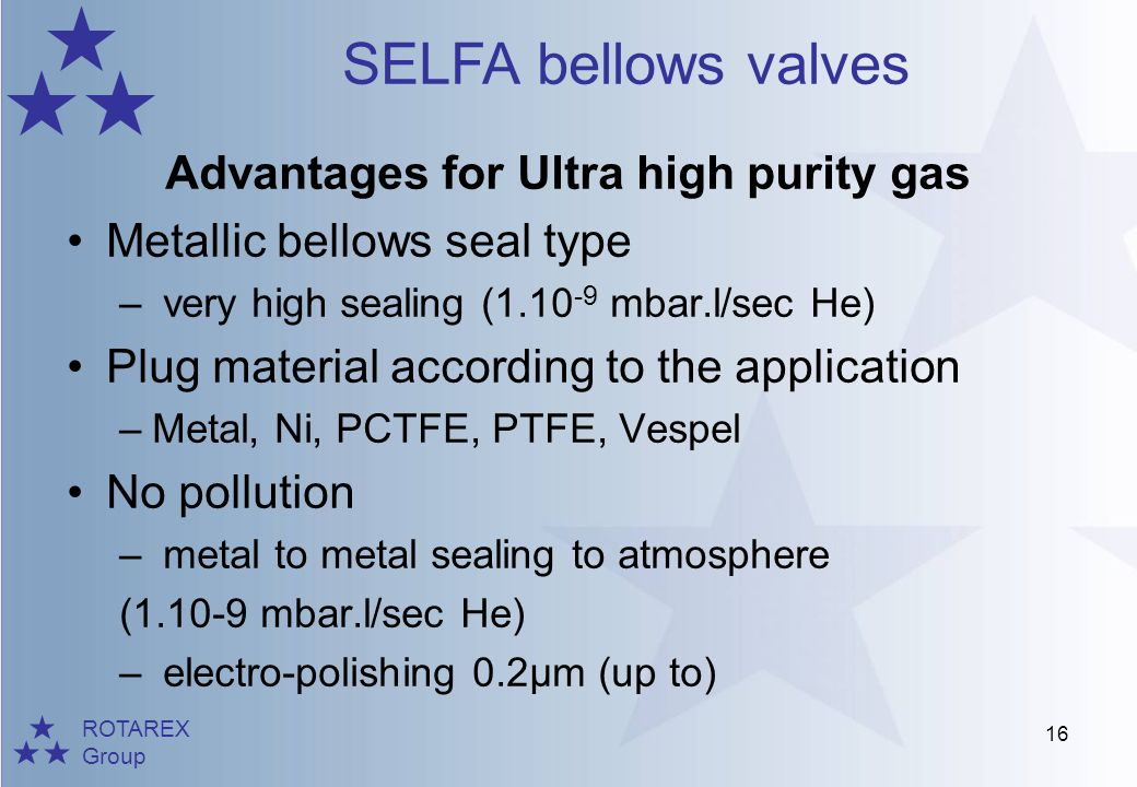 ROTAREX Group SELFA bellows valves 16 Advantages for Ultra high purity gas Metallic bellows seal type – very high sealing (1.10 -9 mbar.l/sec He) Plug