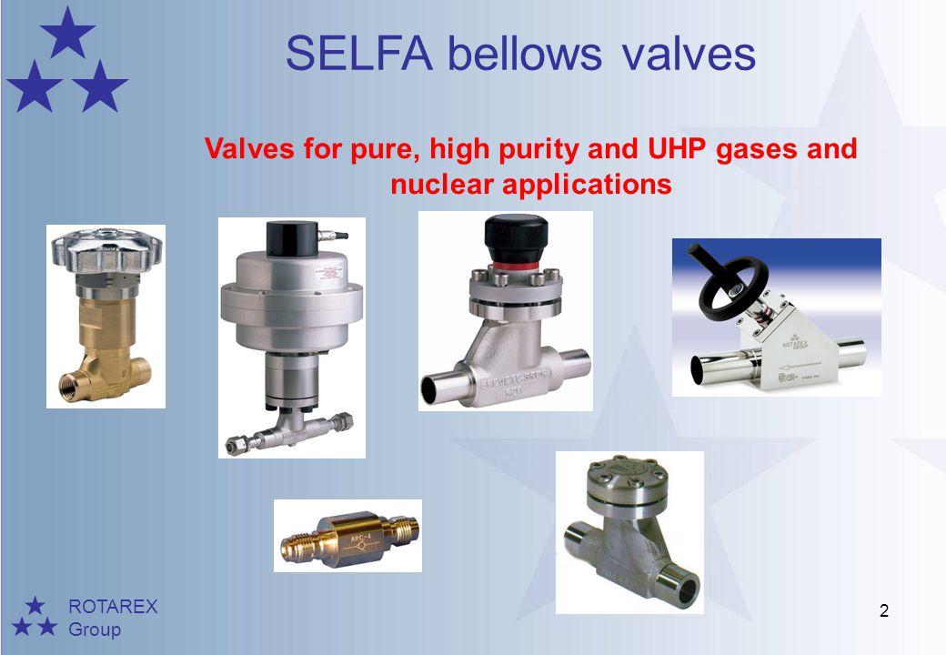 ROTAREX Group SELFA bellows valves 3 Valves for cryogenic applications