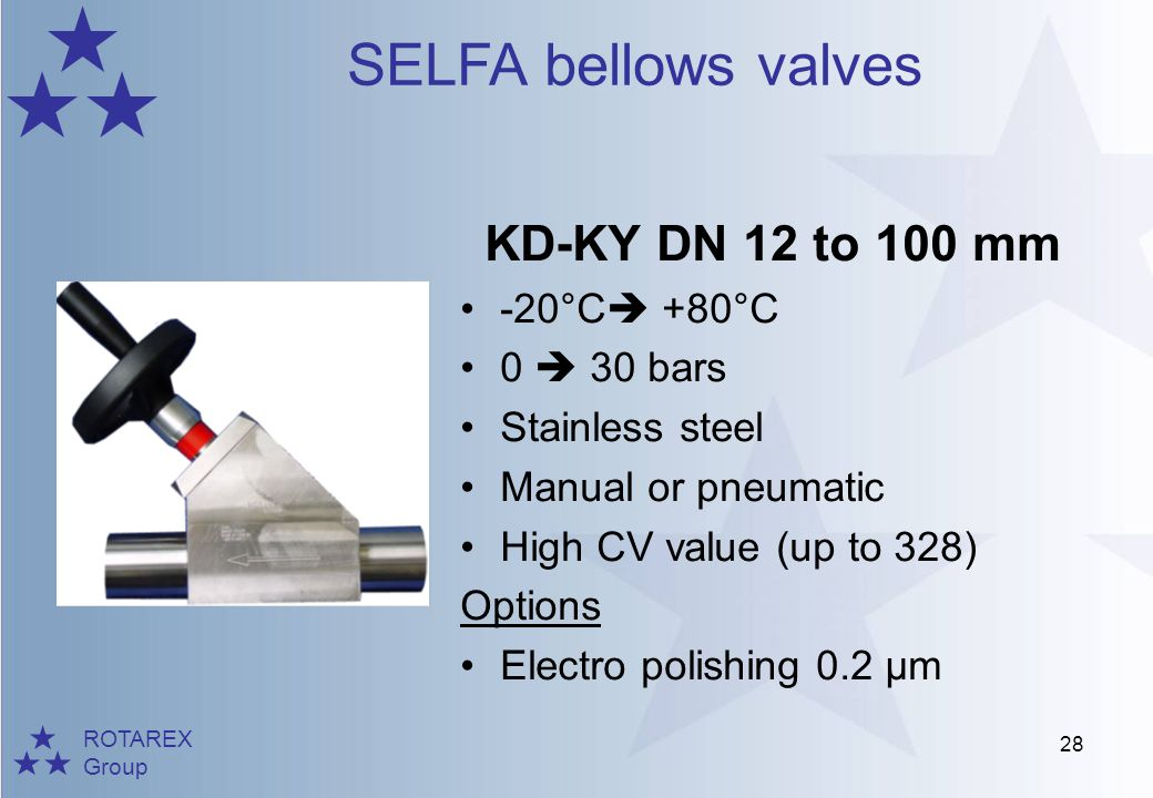 ROTAREX Group SELFA bellows valves 28 KD-KY DN 12 to 100 mm -20°C +80°C 0 30 bars Stainless steel Manual or pneumatic High CV value (up to 328) Option