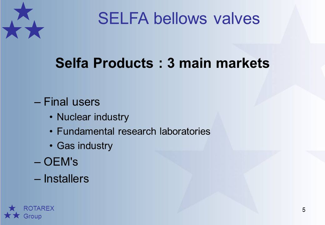 ROTAREX Group SELFA bellows valves 6 Final Users : Nuclear Industry –AREVA (Areva NC, Eurodif, Comurhex, etc…) World leader in nuclear power, from the extraction to the recycling of the combustible Selfa applications Valves for UF6 transport (Uranium hexafluoride- combustible for nuclear reactor) : K300 Series Special valves for nuclear application from K300 Series