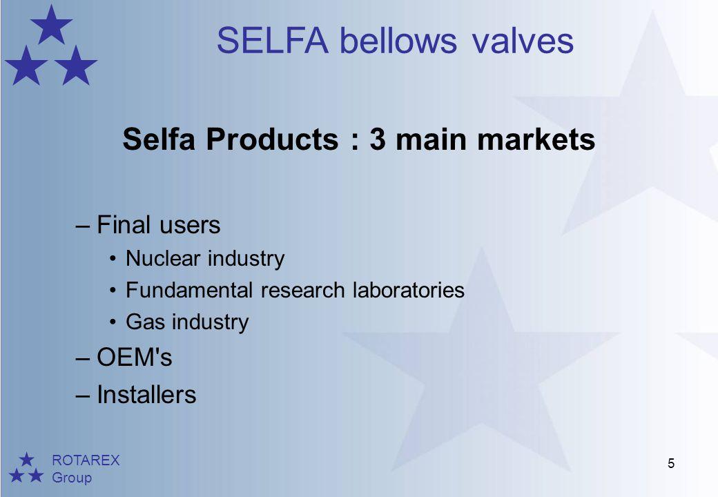 ROTAREX Group SELFA bellows valves 26 RM 900 DN8-32 mm -200°C +80°C 0 30 bars Brass body Manual