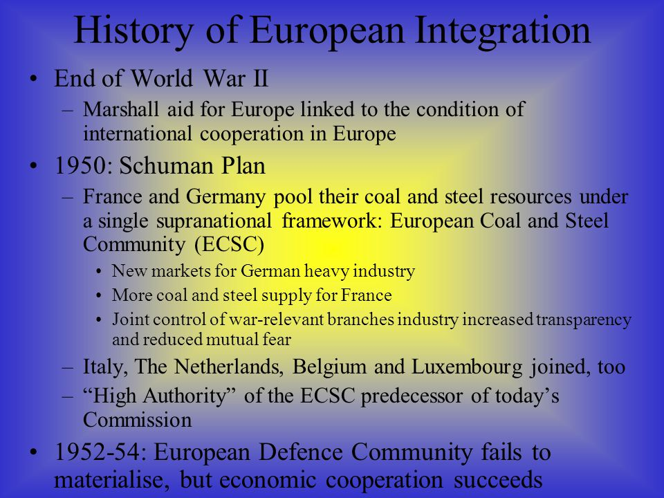 End of World War II –Marshall aid for Europe linked to the condition of international cooperation in Europe 1950: Schuman Plan –France and Germany poo