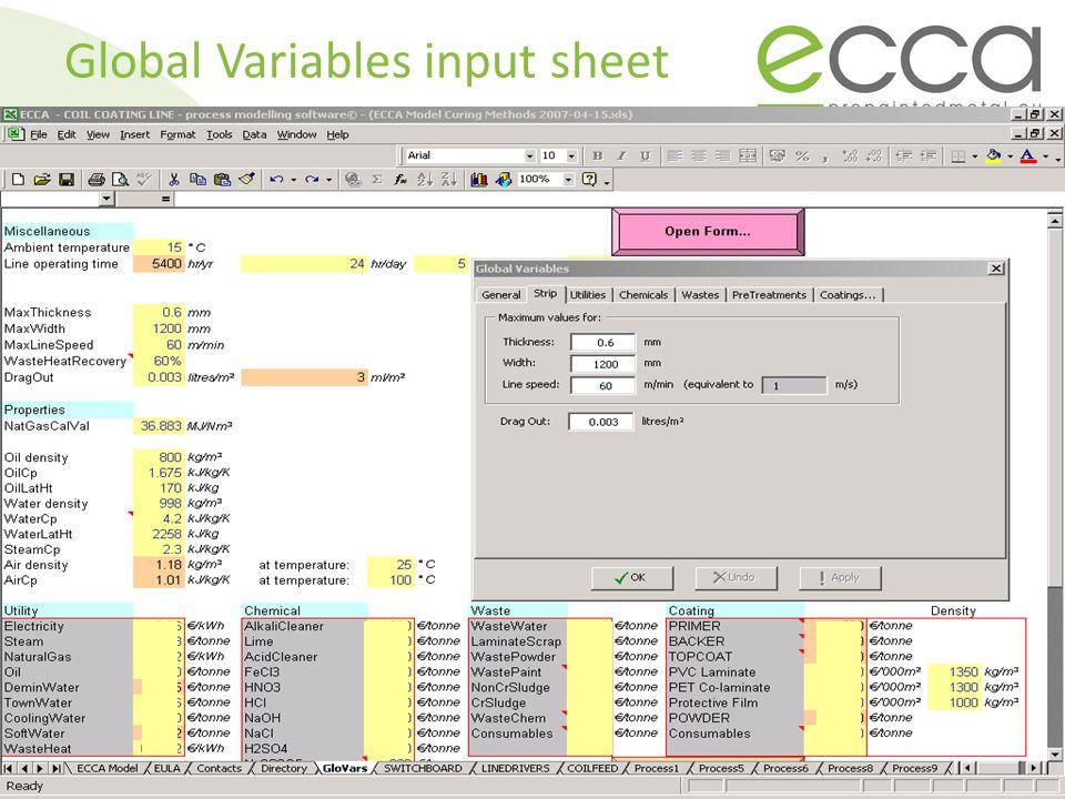 Global Variables input sheet