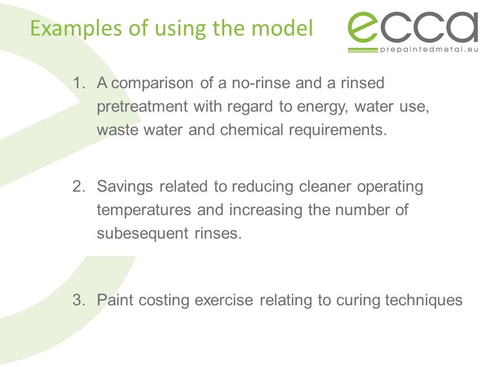 1.A comparison of a no-rinse and a rinsed pretreatment with regard to energy, water use, waste water and chemical requirements. 2.Savings related to r
